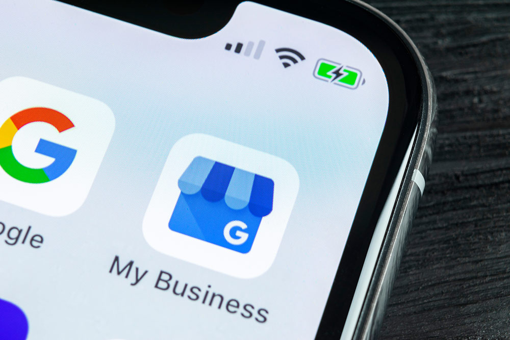 Smartphone with Google My Business app showing